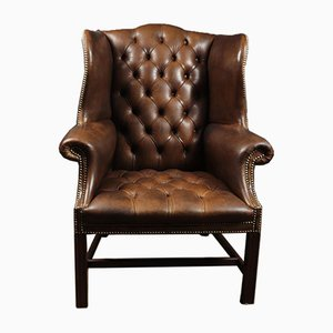 Georgian Style Brown Buttoned Leather Wing Chair, 1960s
