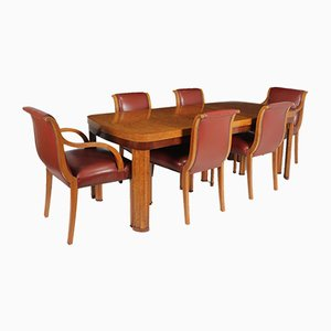 English Art Deco Dining Table & Chairs Set, 1930s, Set of 7