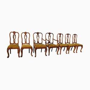 Antike Chippendale Esszimmerstühle im Barock Stil, 7er Set