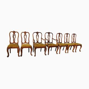 Antique Chippendale Baroque Style Dining Chairs, Set of 7