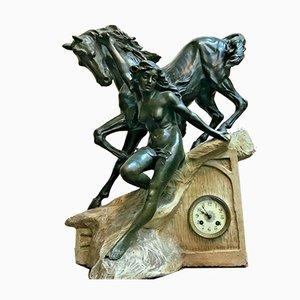 Goldscheider Style Art Nouveau Figural Mantel Clock, Late 1800s