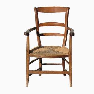 Walnut & Straw Lounge Chair, 1900s