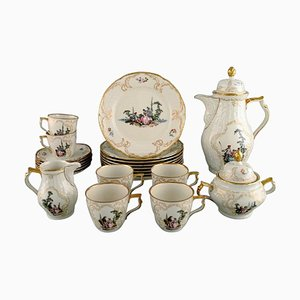 Classic Rose Coffee Service for Six People in Hand Painted Porcelain for Rosenthal, Set of 21
