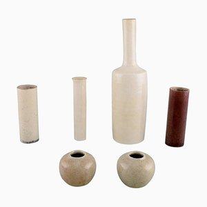 Glasierte Vasen aus Keramik von British Studio Ceramist, 1980er, 6er Set