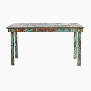 Weathered Blue Wooden Folding Table