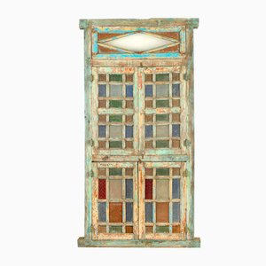 Patinated Wood Stained Glass Window