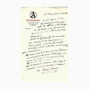Lettera Carlo Carra, 1938