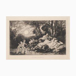 Eugene Charvot, Resting Ninfe, Etching by Après Diaz De La Pena, 1880