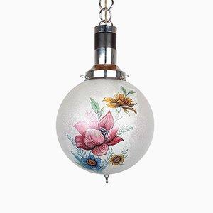 Vintage Glass Flower Pendant Lamp, Italy, 1960s