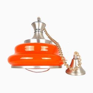 Lampe à Suspension Mid-Century en Verre Orange, 1970s