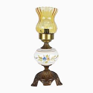 Lampada da tavolo vintage in vetro porcellana, anni '60