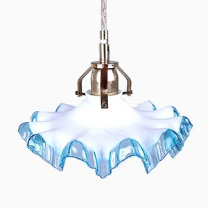 Vintage Small Blue and White Glass Pendant Lamp, Italy, 1950s