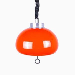 Mid-Century Orange Glass Pendant Lamp, 1970s, Italy