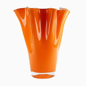 Orange Murano Glass Vase, 1990s, Italy