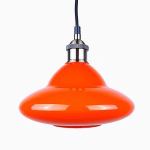 Lampe à Suspension en Verre Orange, 1970s