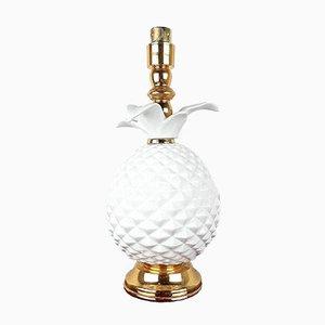 White Pineapple Porcelain Table Lamp, 1970s