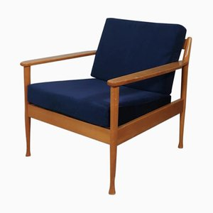 Scandinavian Style Blue Velvet Armchair, 1960s