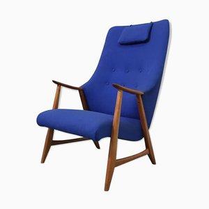Wing Chair aus Teak und Blauem Stoff, 1960er