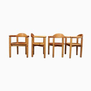 Brutalist Wooden Chairs, 1960s, Set of 4