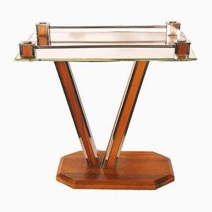 Art Deco Walnuss, Chrom & Spiegelglas Couchtisch, 1930er