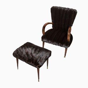 Vintage Art Deco Mink Lounge Chair & Ottoman