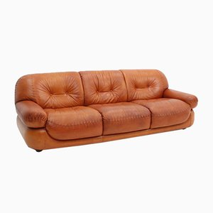 Vintage Italian Leather Sofa by Mobil Girgi, 1970s