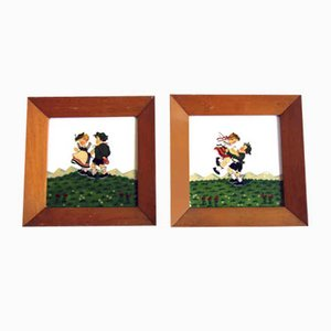 Eutarchy Painted Children Ceramic Tiles, 1920s, Set of 2