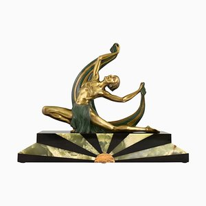 Art Deco Bronze Sculpture of Scarf Dancer on Sunburst Base by Jean Lormier, France, 1925