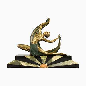 Sculpture Art Deco en Bronze de Scarf Dancer on Sunburst Base par Jean Lormier, France, 1925