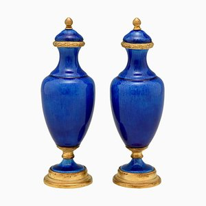 French Ceramic & Bronze Vases by Paul Milet for Sèvres, 1900s, Set of 2