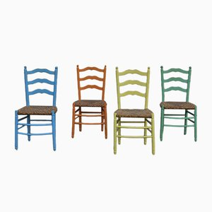 Rustic Dining Chairs, 1950s, Set of 4