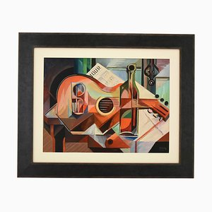 Serge Magnin, Nature Morte Cubiste avec Guitare, 1960, Peinture à l'Huile
