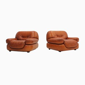 Leather Armchairs by Mobil Girgi, 1970s, Set of 2