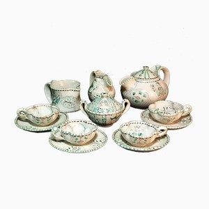 Antique Italian Medieval Majolica Tea Set by Ilario Ciaurro, 1900s, Set of 12