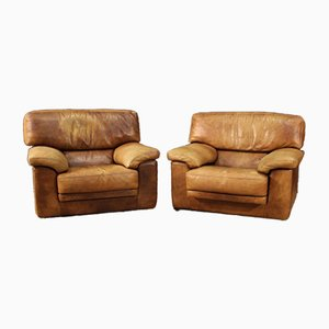 Large French Leather Armchairs, 1970s, Set of 2