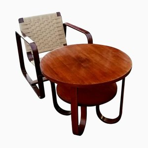 Armchair & Coffee Table Set by Giuseppe Pagano & Gino Maggioni for Gino Maggioni, 1940s, Set of 2