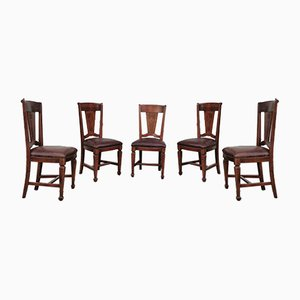 Cherrywood & Brown Leather Chairs, 1950s, Set of 6