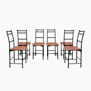 Aluminium & Brown Leather Dining Chairs from Ycami, 1980s, Set of 6