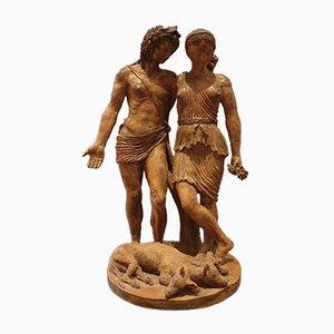 Escultura de terracota, Orfeo y Eurydice, década de 1800
