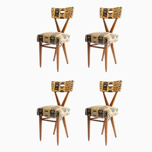 Wooden Dining Chairs by Gianni Vigorelli, 1950s, Set of 4
