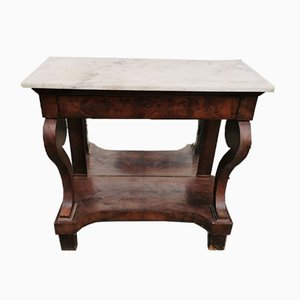 Walnut & Marble Console Table, 1800s