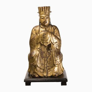 Painted Wooden Chinese Dignitary Sculpture, 1700s