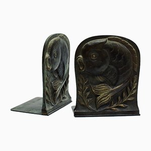 Art Deco Bronze Bookends, Set of 2
