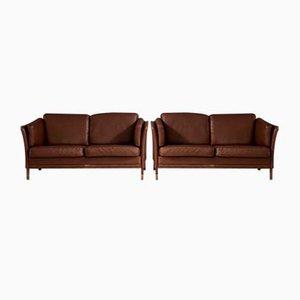 Danish Aubergine Leather & Oak Sofas from Mogens Hansen, Set of 2