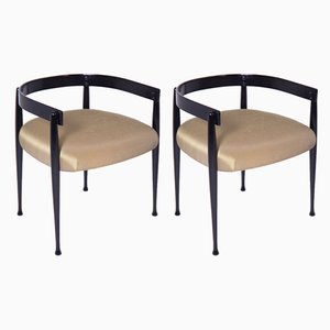 Wood & Silk Lounge Chairs by Vittorio Gregotti, 1950s, Set of 2