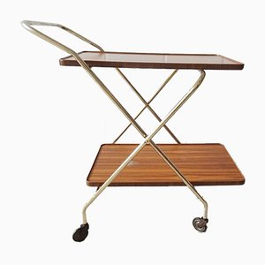 German Foldable Trolley in Gold & Walnut Optics, 1960s