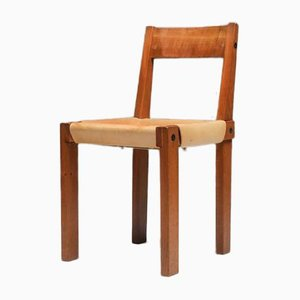 Elm and Natural Leather S24 Dining Chair by Pierre Chapo, 1966