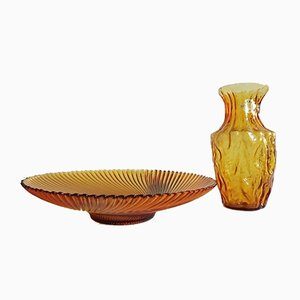 Mid-Century Amber Glass Vase & Bowl from STAR Kristall, 1960s, Set of 2