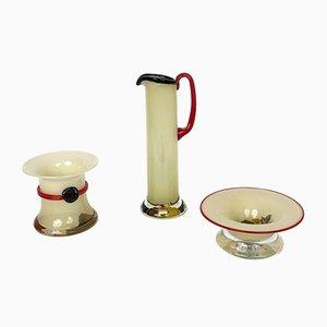 Vintage Swedish Glass Bowls & Carafe by Monica Backström for Kosta Boda, Set of 3