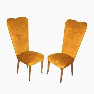 Velvet Dining Chairs, 1950s, Set of 2